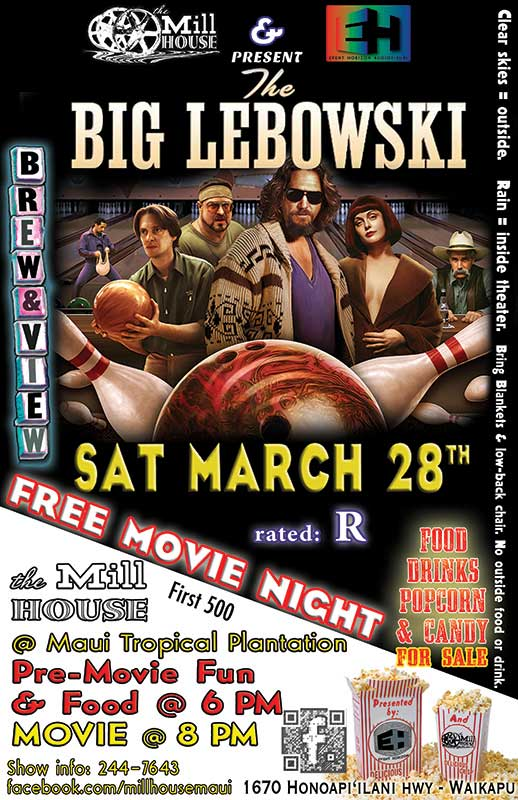 FLYING 'OKOLE Brew&View poster graphic for Big Lebowski on the Branding, Websites & Marketing Our Work page.
