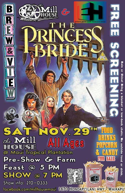 FLYING 'OKOLE Brew&View poster graphic for Princess Bride on the Branding, Websites & Marketing Our Work page.