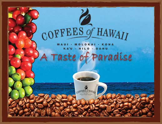 FLYING 'OKOLE marketing graphic for Coffees of Hawaii on the Branding, Websites & Marketing Our Work page.