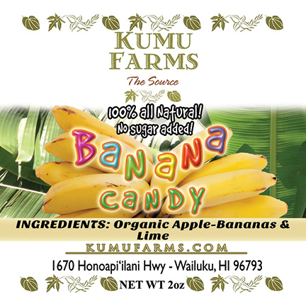 FLYING 'OKOLE product label design for Kumu Farms Banana Candy on the Branding, Websites & Marketing Our Work page.