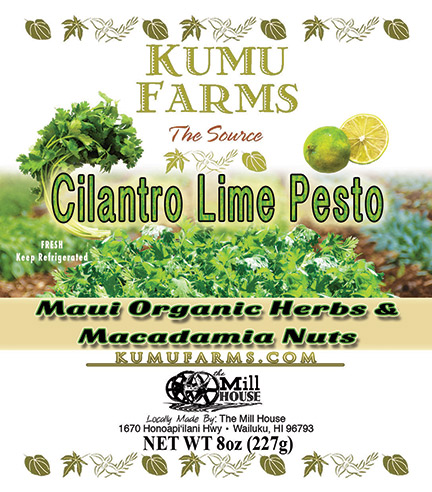 FLYING 'OKOLE product label design for Kumu Farms Cilantro Pesto on the Branding, Websites & Marketing Our Work page.
