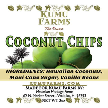 FLYING 'OKOLE product label design for Kumu Farms Coconut Chips on the Branding, Websites & Marketing Our Work page.