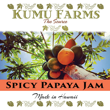 FLYING 'OKOLE product label design for Kumu Farms Papaya Jamon the Branding, Websites & Marketing Our Work page.