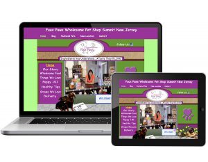 FLYING 'OKOLE website design for Faux Paws Pet Shop on the Branding, Websites & Marketing Our Work page.