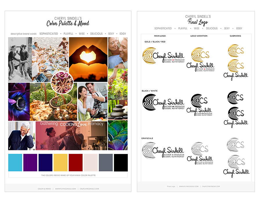 Cheryl Sindell logo and inspiration board branding project by Flying Okole.