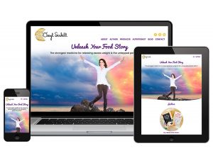 Web design and branding preview of desktop, mobile, and ipad website view for Cheryl Sindell