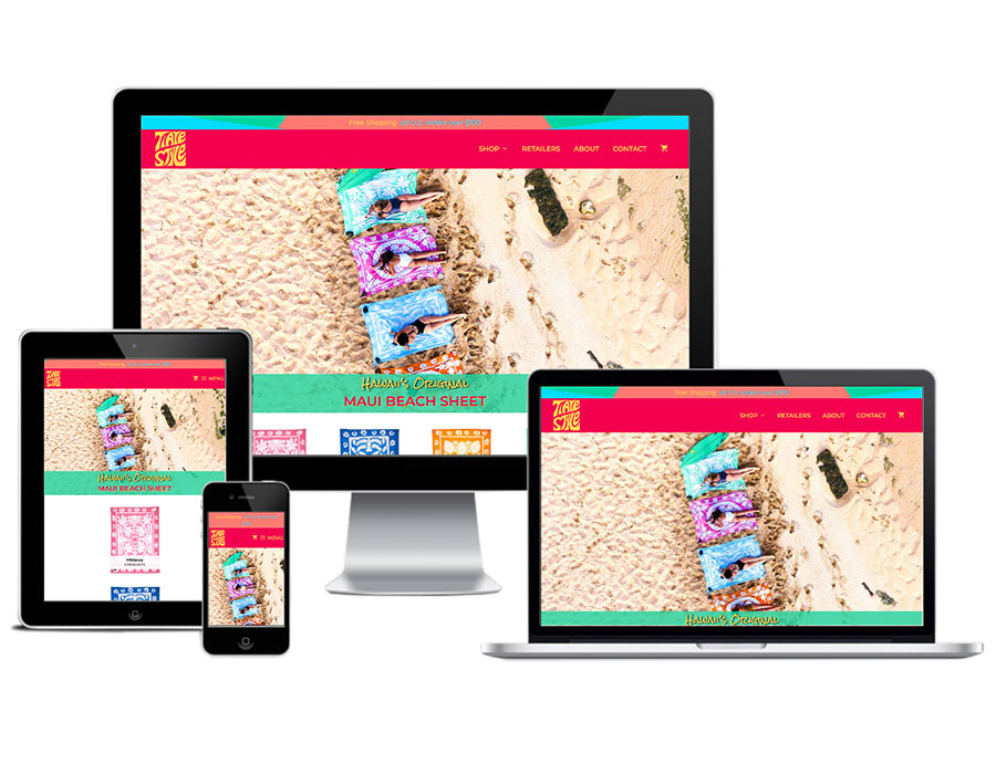 Screen mockups of Flying Okole's website branding and photography project for Tiare Style Maui Beach Sheet